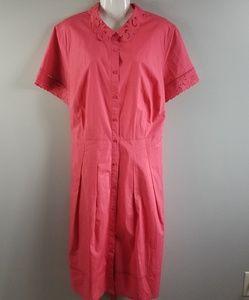 Talbots Coral Button Down dress 18w 100% cotton